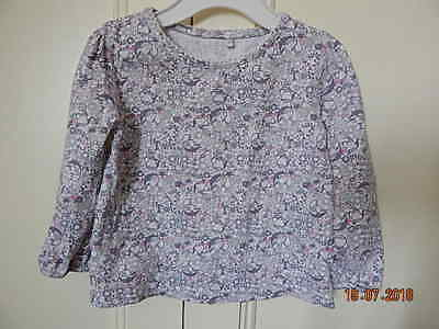 George Girls White Grey Pink Patterned Long Sleeved Top 9-12 M 100% Cotton
