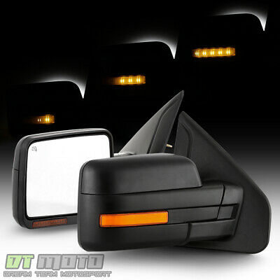 Left+Right For 2004-2007 Ford F150 Power+Heated+Amber LED Signal Tow Side Mirror