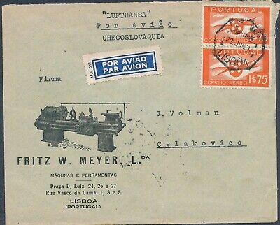 1938 PORTUGAL MACHINERY ADVERTISING COVER AIRMAIL to ČSR. superb attractiv