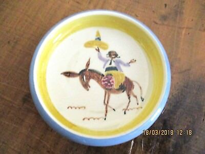 ~Martin Boyd Small Hand Painted Dish - Mexican Riding A Donkey - Vgc~