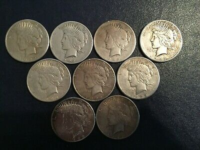 Lot of 5 Cull 1922-1935 $1 Silver Peace Dollars Mixed Dates /& Mint Marks