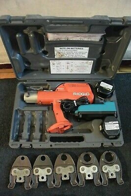 "Ridgid Brand Porpress 14v Crimper Set Model 100B 5 PEX Jaws 1/2"" through 1-1/2"""