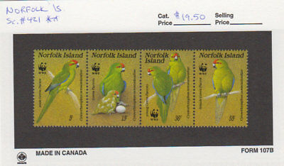 Norfolk Is. - 1987 WWF Parrot Set. Sc. #421. SG #425a. Mint NH