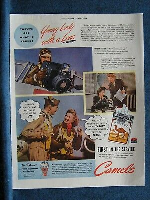 Women In War 1944~Marine Corps Women's Reserve Lady w/Camera ~ Camels Cig Ad