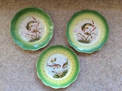 Vintage or Antique Limoges china plates lot of 3 fish design green w/ gold edge