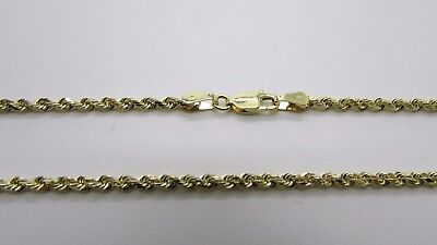 14K Pretty Yellow Gold Rope Chain 22 inches 10.5 grams 3mm