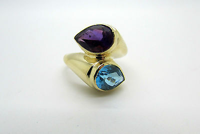 14K Yellow Gold Pretty Ladies Ring with Blue & Purple Topaz Stones Stacked