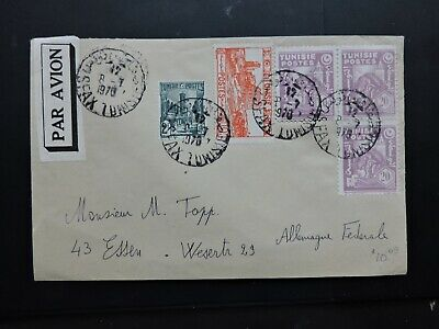 Sfax Tunisia 5 Stamps Cover + Tied Par Avion Air Mail Label > Germany ! L@@k !!!