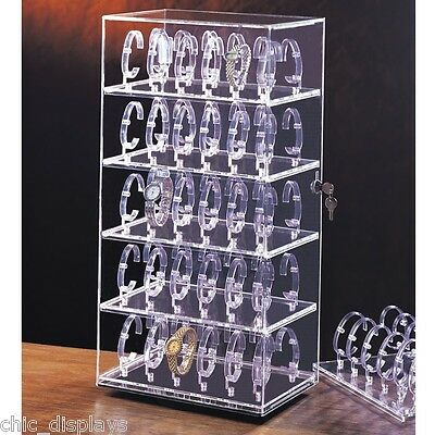 Rotating Watch Custodia Acrylic Display Cabinet Showcase Countertop 60