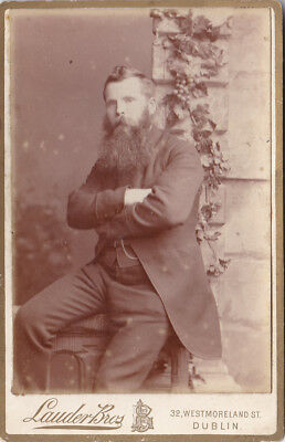 Irish Very Large Beard Male  Antique Cabinet Card Photograph