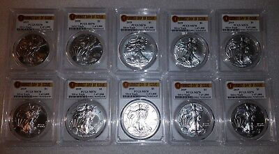 2019 1 oz Silver Eagle PCGS MS70 First Day Issue Label 1 of 1000 (10 Pack)