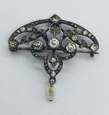 Antique Victorian French Paste Sterling Silver Rhinestone Pearl Pin