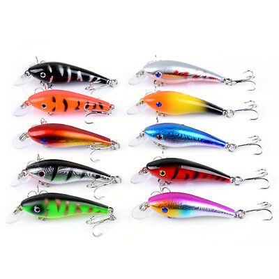 1pc 8cm//8.5g hard minnow fishing lures crank plastic baits floating lures 4# ZP