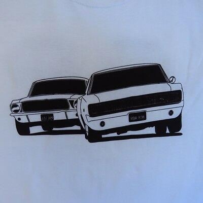 BULLITT MOVIE CAR CHASE T SHIRT WHITE STEVE McQUEEN 1967 MUSTANG 1968 CHARGER RT