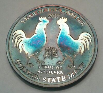 Year Of The Rooster 1oz Silver Round with Beautiful toning, TONED