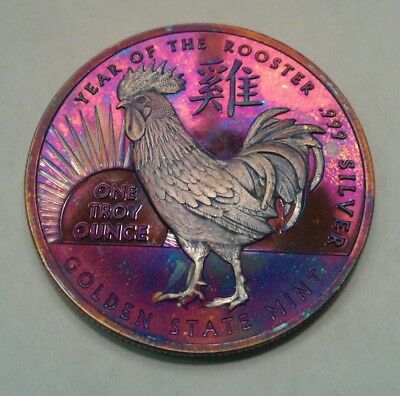 Year Of The Rooster 1oz Silver Round with Beautiful toning, TONED .