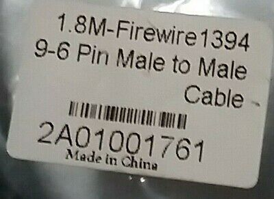 Firewire IEEE 1394 Cable: 9-6 Pin M/M - 1.8m