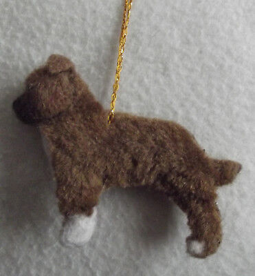 STAFFORDSHIRE BULL TERRIER dog BROOCH / CHRISTMAS DECORATION Part NEEDLE FELTED