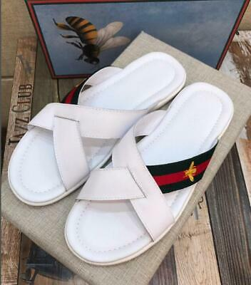 2019 FASHION  HOT SALE UNISEX Bee Embroidery Printing WHITE SUMMER Slippers