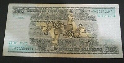Brazil Vg Circulated 1984 200 Cruzeiros Old Banknote World Paper Money Currency