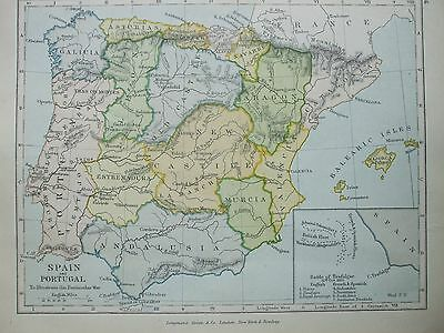 Antique Print Map Dated 1905 Spain And Portugal To Illustrate Peninnsular War