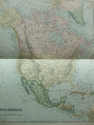Antique Print Dated C1870's Map Of North America United States Usa Colour Globe