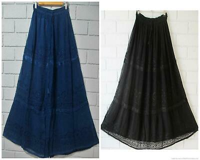Boho Floaty Georgette Embroidered Occasion  Skirt 4 Colours 10 12 14 16 18 20❤️