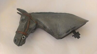 Beautiful sculpture vintage cold paint metal horse head riding racing car mascot