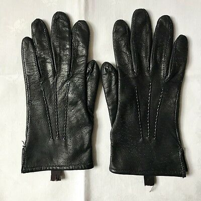 Vintage Ladies Littlewoods Black Peccary Leather, Cashmere Lined Gloves. Vgc