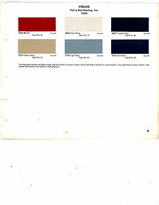 1963 1964 1965 1966 1967 1968 Volvo 63 64 65 66 67 68 Paint Chips 65 Dupont 5