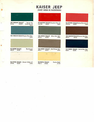 1963 1964 1965 1966 1967 1968 To 1970 Kaiser Jeep Trucks Paint Chips 68 Dupont 7