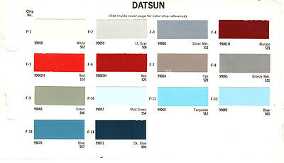 1959 1960 1961 1962 1963 1964 1965 To 1968 Datsun Nissan Paint Chips 68 Dupont 5