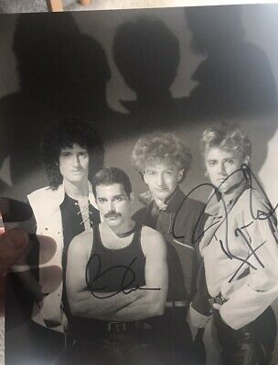 QUEEN-Brian May Roger Taylor Hand Signed 10,8 Photo Rare Queen