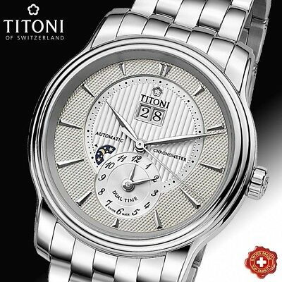 Titoni, Automatic, Dual Time, Silver Dial, Cosc Chronometer, 94981 S-389, Swiss