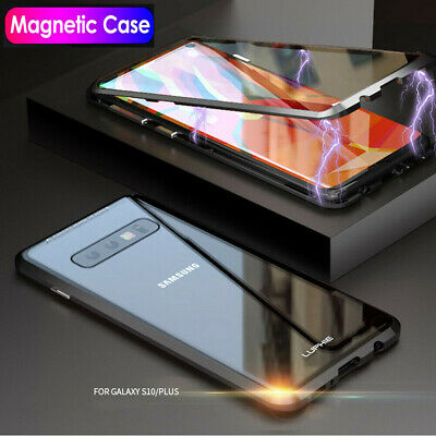 Samsung Galaxy S10 Magnetic Adsorption Metal Bumper Case Tempered Glass Cover