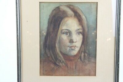 Antique Dutch Portrait from the early 1900's, Watercolor on paper Girl.