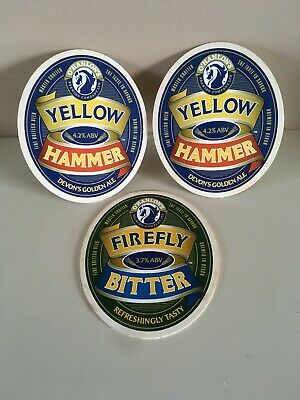 Set Of 3 BEER PUMP CLIP - O'HANLON'S YELLOW HAMMER And FIREFLY BITTER