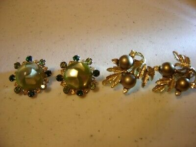 2 Pair Vintage Clip On Earrings Flaux Pearl Rhinestones Jewelry Collectible