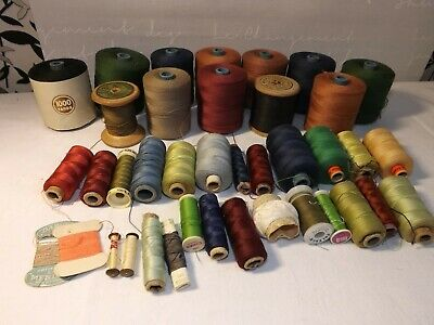 Job Lot of 35+ Vintage Reels & Cards of Assorted Sewing Threads Some 1000 yard