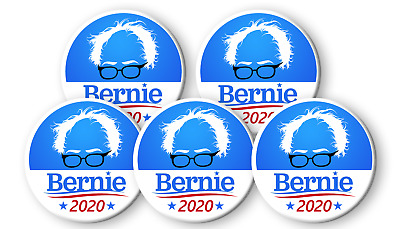 BERNIE SANDERS For President 2020 Pack of FIVE 3 inch PIN BADGES Buttons