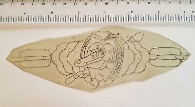 vintage unk tattoo acetate stencil tracing for flash horse shoe lucky band shaw