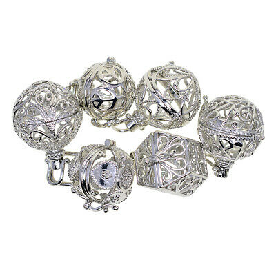 6pcs Mixed Cage Locket Beads Box Large Pendant Findings DIY Necklace Charms