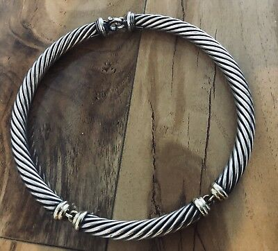 David Yurman Sterling Silver 14K Yellow Gold 10mm Cable Lobster Clasp Necklace