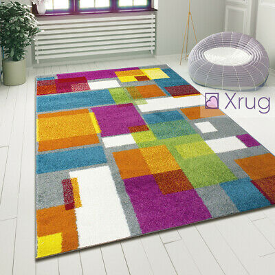 Geometric Rugs Multi Colour Abstract Mat Small Large Modern Living Room Carpets