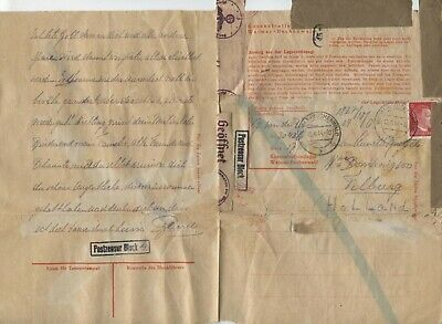 Germany, Holland folded letter camp Buchenwald to Holland, Chemical censor, 1944