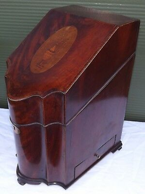Antique Regency Inlaid Mahogany Serpentine Knife Box Stationery Cabinet