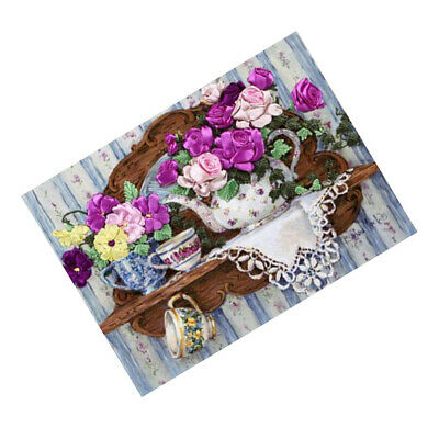 1x Ribbon Embroidery Cross Stitch Kits Handmade Flowers Design Home Decor