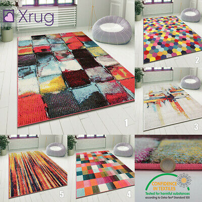 Modern Pattern Rug Multi Colour Abstract Carpet Small Large Living Room Area Mat