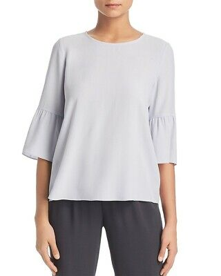 a9f491ff6db Eileen Fisher Silk Georgette Crepe Ruffle Sleeve Top INSKY India Sky S NWT  $258