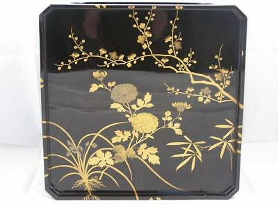 Antique Japanese lacquer tray 1900-15 maki-e with floral design #2552